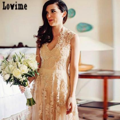 Vintage Champagne Lace Wedding Dres..