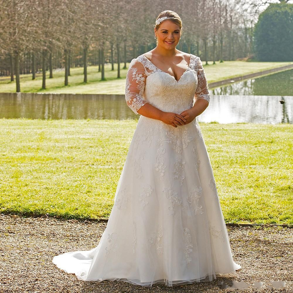product line plus size wedding dress with sleeves
