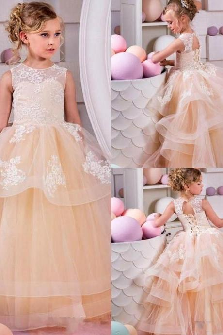 2018 New Arrival Jewel Tiered Tulle Girls Pageant Dresses Lace Appliqued Open Back Lace Up Back Flower Girls Dresses Kids Birthday Gown