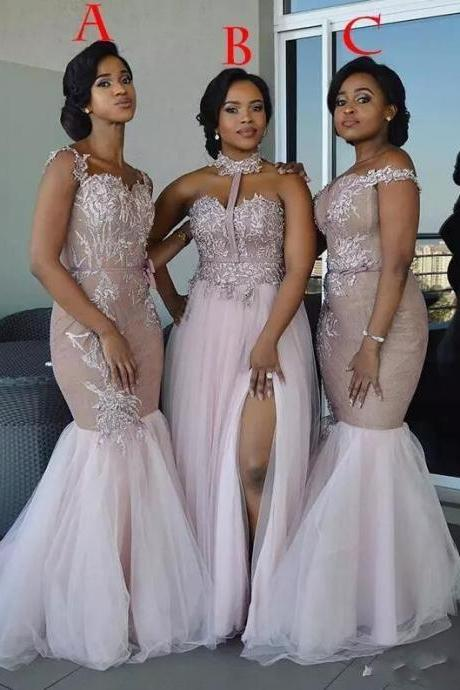 African Bridesmaid Dresses Plus Size Long Mixed Style Appliques Off Shoulder Mermaid Prom Dress Split Side Maid Of Honor Dresses Evening Wear