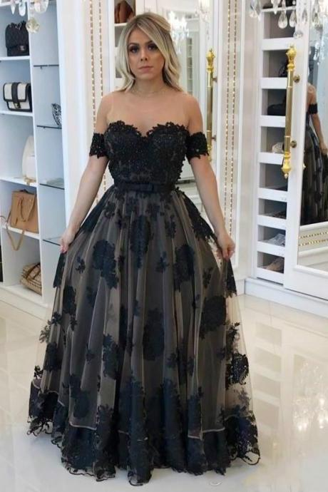 Sexy Sheer Lace Prom Dress With Short Sleeve Tulle A Line Backless See Through Illusion Back A Line Floor Length Off The Shoulder Formal Party Dress Women Gowns 2018