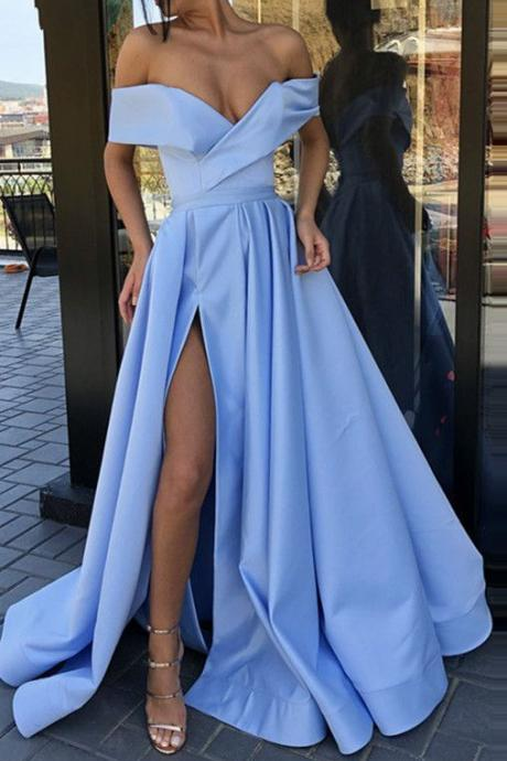 Elegant Off the Shoulder Red Party Gown Satin Sexy Prom Dress Sky Blue High Slit Plus Size Prom Dresses 2019 Long vestido fiesta