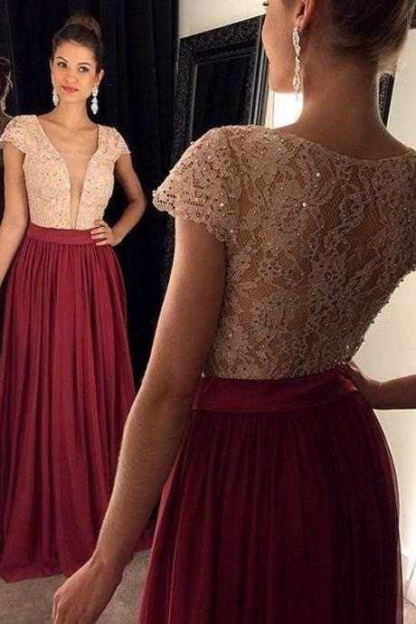 Long Lace Burgundy Prom Dresses With Short Cap Sleeve Sexy Sheer Party Dress Formal Women Gowns 2018
