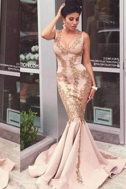 Gold Appliques Sexy Mermaid Long Prom Dresses 2017, Sexy Scoop Neck Tank Top Satin Party Dress Plus Size, Sweep Train Cheap Champagne Party Dress, 2017 Vestidos De Festa, Customize Satin Pageant Celebrity Dresses 2017