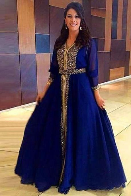 Arabic Royal Blue Prom Dresses With Beaded Top, A Line Chiffon Formal Evening Dresses With Long Sleeve, 2017 Vintage Prom Dresses Floor Length, Luxury Beaded Sequins Prom Party Dresses Plus Size 2017,