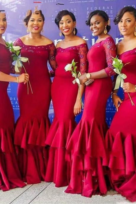 Off The Shoulder Red Bridesmaid Dress, Long Sleeve Prom Dresses, Boat Neck Party Dresses, Sexy Mermaid Ruffles Prom Dress, Long Bridesmaid Dresses , 2017 Customize Maid Of Honor Dress, Beaded Tiered Satin Wedding Party Dress