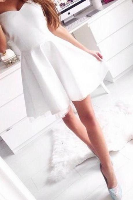 Little White Short Prom Dress, Sweetheart Backless White Party Dress, A Line Satin Short Homecoming Dress, Cheap Short White Cocktail Dress, Sexy Short Cocktail Gowns, 2017 Short White Prom Dress