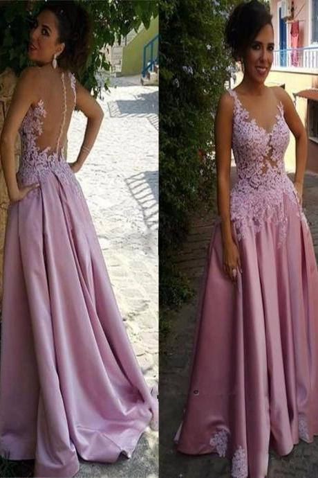 New 2017 Prom Dress Elegant Pink Lace Sexy Sheer Party Dress See Through Illusion Back Long Satin A Line Formal Evening Gowns Floor Length Vestidos De Festa