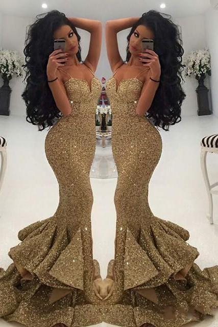 Gold Sequins Prom Dress, 2017 New Prom Dress, Sexy Spaghetti Strap Long Prom Dress, Vintage Gold Party Dress, Sexy Mermaid Long Gold Party Dress, Rufles Tiered Formal Dress, Floor Length Gold Sequins Prom Dress, 2017 Gold Prom Dress Floor Length, Sweetheart Sequins Party Dress, Cheap Vestidos De Festa 2017
