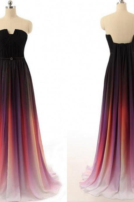 2017 New Cheap Gradient Ombre Chiffon Prom Dress Evening Dress Strapless with Pleats Women Dress