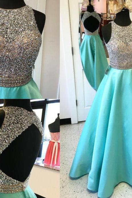 2017 Vestidos De Festa Sexy Open Back Long Turquoise Beaded Prom Dress Jewel Neck Tank Top A Line Satin Formal Evening Dress Elegant Gowns Customize China Party Dress