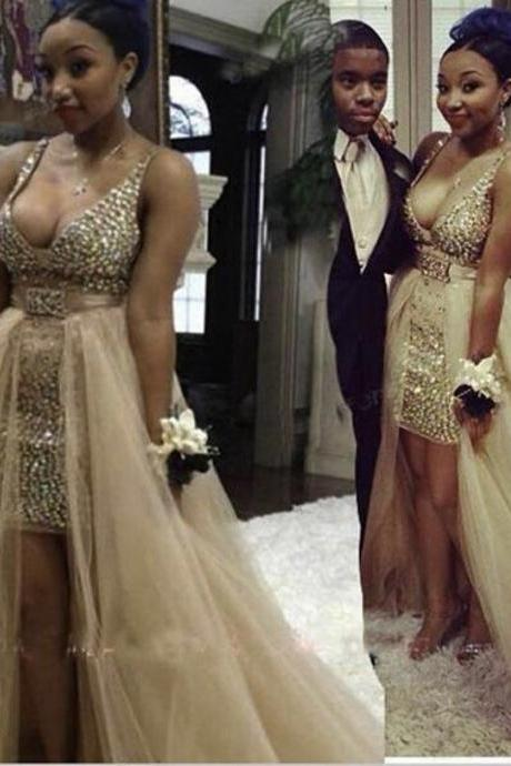 Deep V Neck Champagne Crystal Prom Dress Two Pieces With Detachable Skirt Cheap 2017 Sexy Party Dress For Gala Gowns