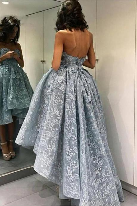 High Low Lace Prom Dresses Sexy Sweetheart Backless Sweep Train Elegant Light Blue Party Dresses Customize Arabic Women Gala Gowns