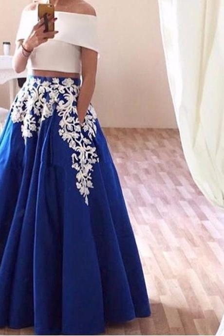Elegant Royal Blue Satin Prom Dresses Sexy Off The Shoulder Two Pieces Party Dress With White Appliques 2017 Vestidos De Festa
