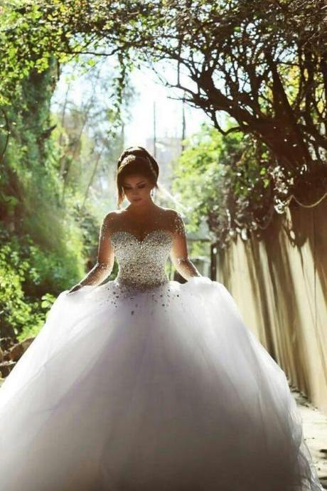 2017 Long Sleeve Wedding Dresses with Rhinestones Crystals Backless Ball Gown Wedding Dress Vintage Bridal Gowns Spring Quinceanera Dresses